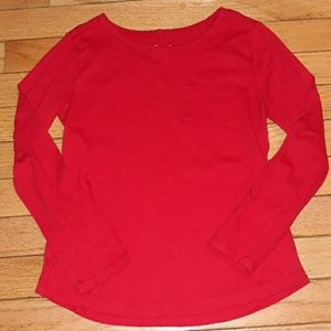 Solid Red Pocket Tee Long Sleeved 7/8 Girls TCP